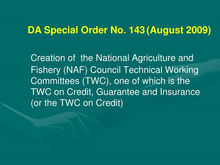 DA Special Order No. 143