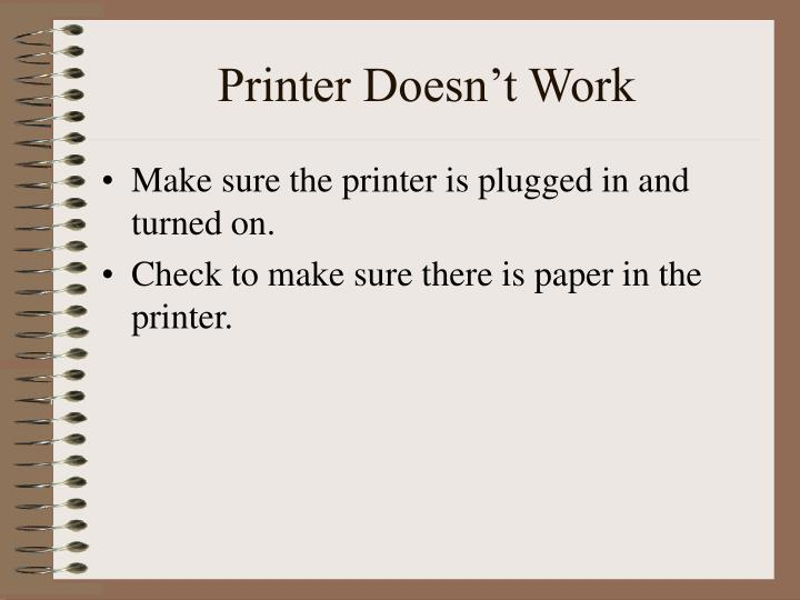 Printer Doesn't Work