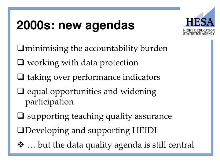 2000s: new agendas