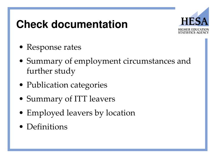 Check documentation