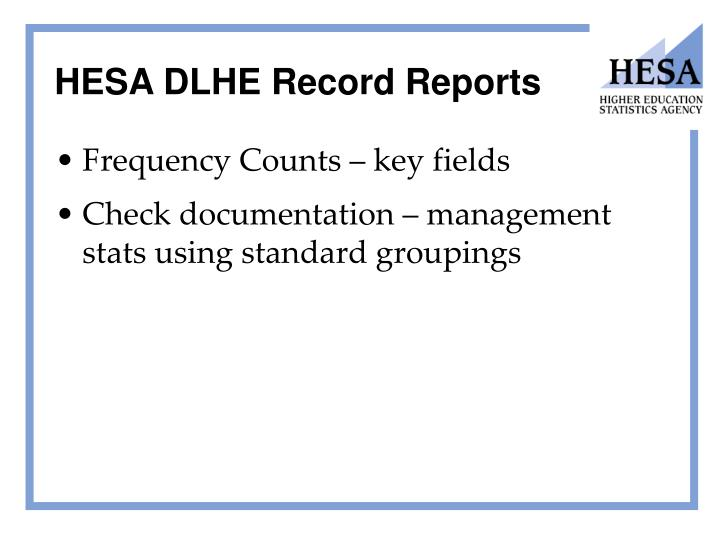 HESA DLHE Record Reports