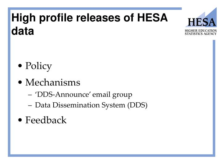 High profile releases of HESA data