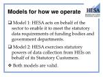 models for how we operate