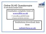 online dlhe questionnaire for both january and april census