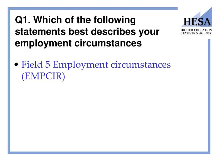 Q1. Which of the following statements best describes your employment circumstances