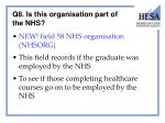 q8 is this organisation part of the nhs