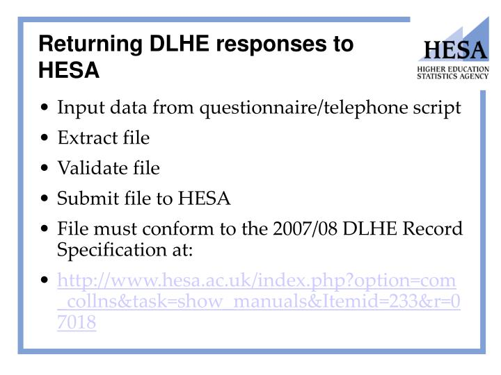 Returning DLHE responses to HESA