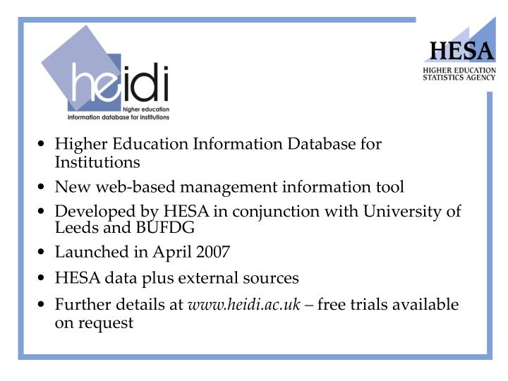 Higher Education Information Database for Institutions
