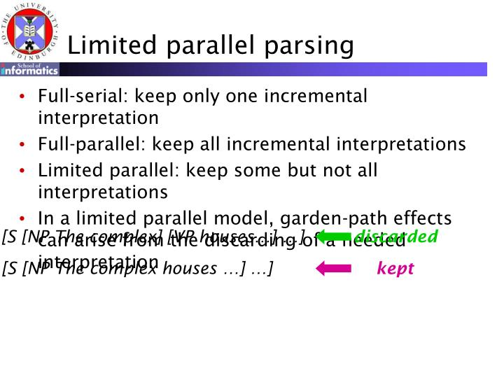 Limited parallel parsing
