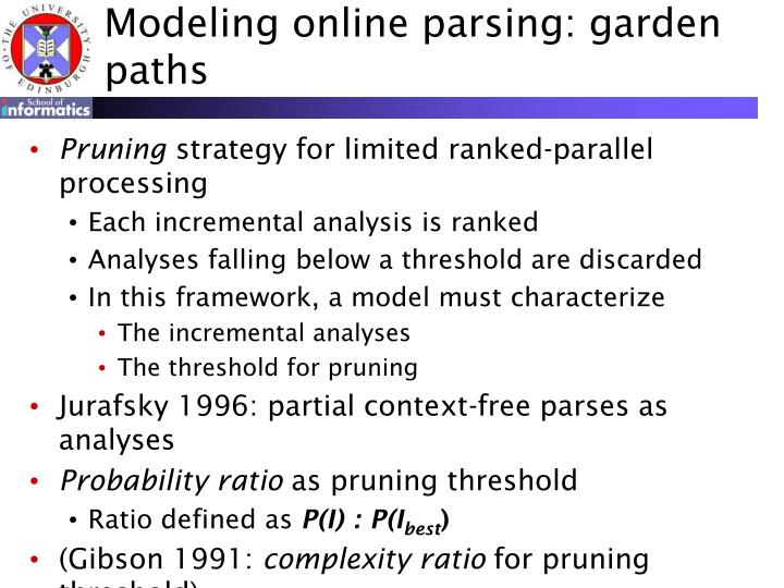 Modeling online parsing: garden paths