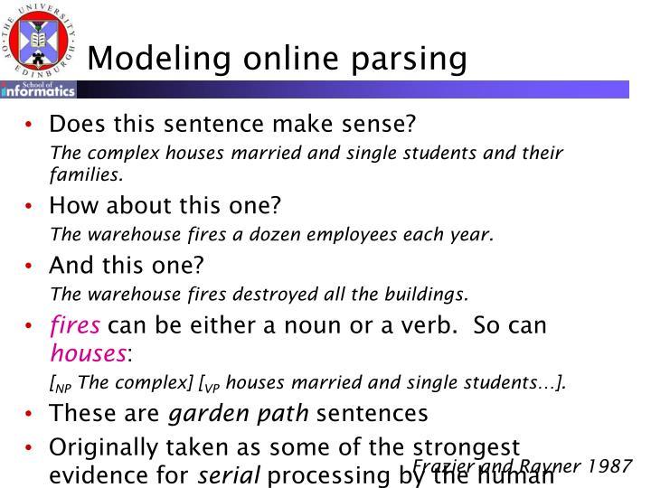 Modeling online parsing