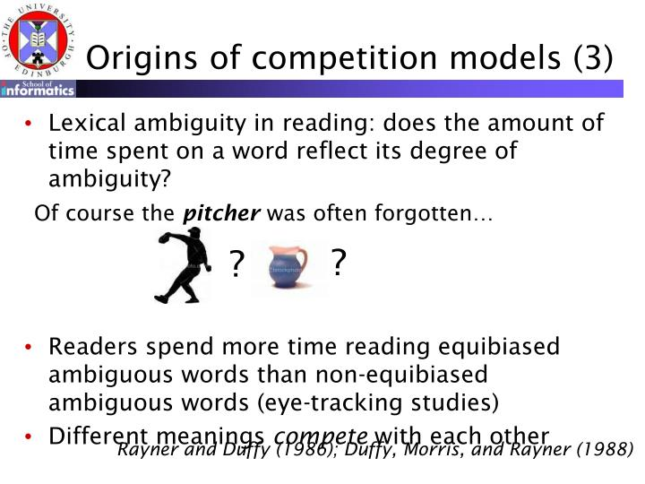 Origins of competition models (3)
