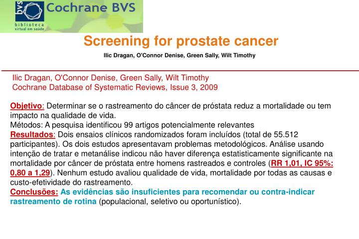 Screening for prostate cancer