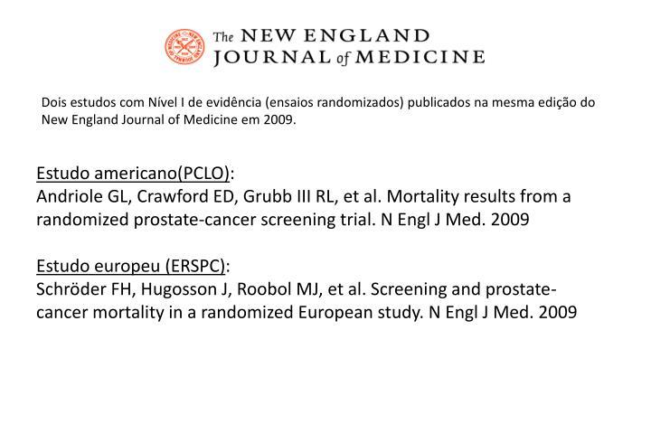 Dois estudos com Nível I de evidência (ensaios randomizados) publicados na mesma edição do New England Journal of Medicine em 2009.