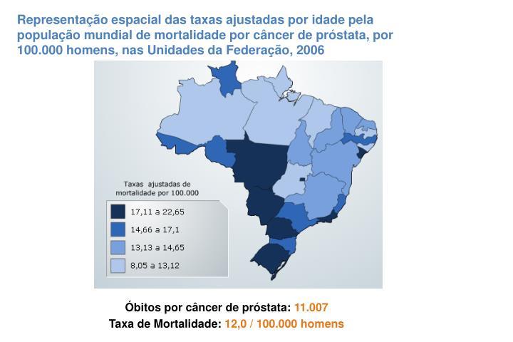 Representação espacial das taxas ajustadas por idade pela população mundial de mortalidade por câncer de próstata, por 100.000 homens, nas Unidades da Federação, 2006