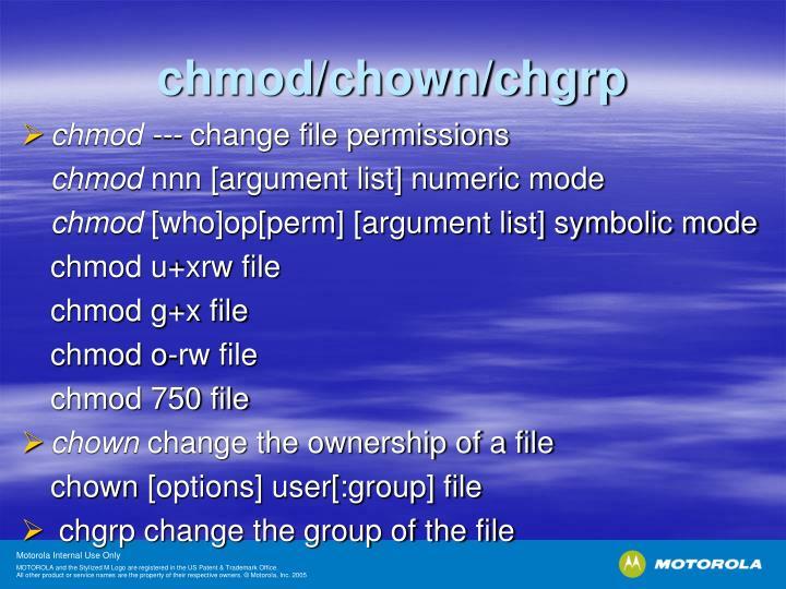 chmod/chown/chgrp