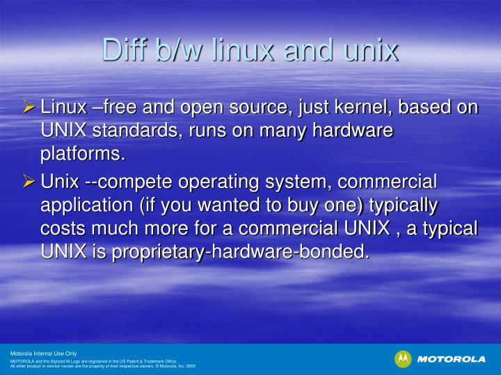 Diff b/w linux and unix