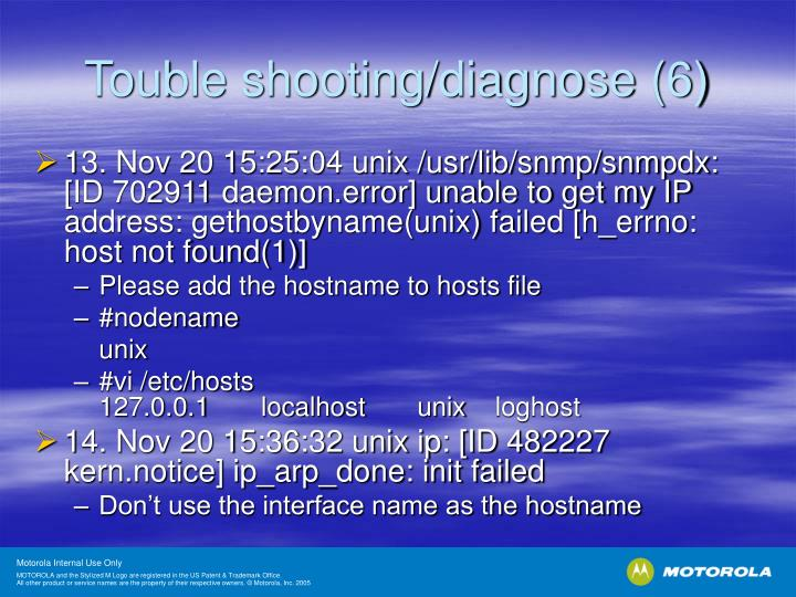 Touble shooting/diagnose (6)