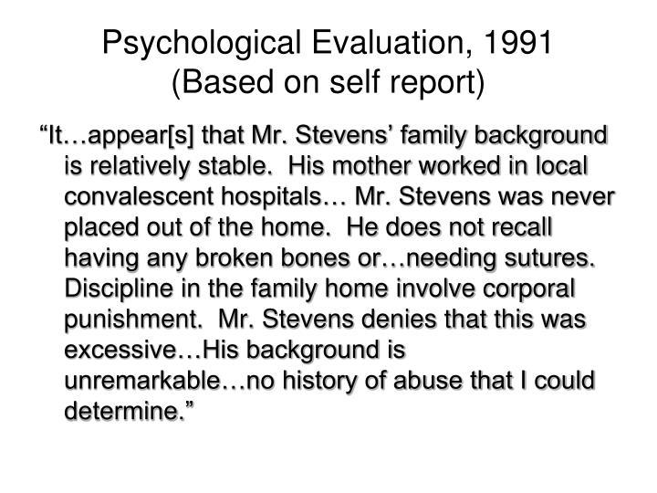 Psychological Evaluation, 1991