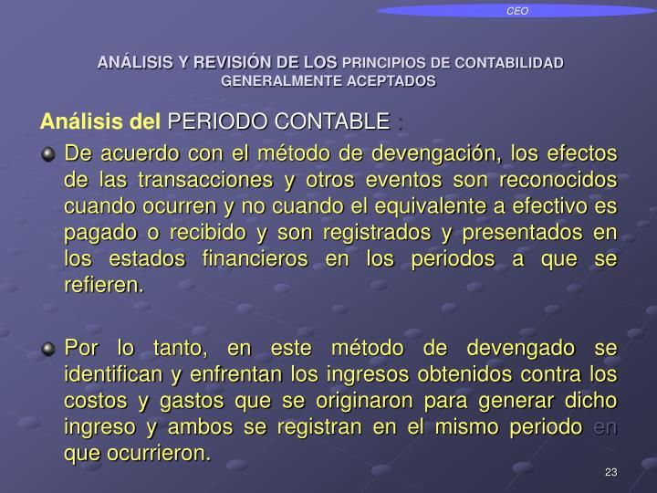 ANÁLISIS Y REVISIÓN DE LOS