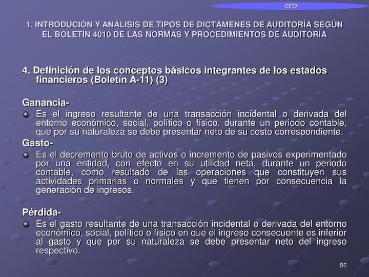 1. INTRODUCIÓN Y ANÁLISIS DE TIPOS DE DICTÁMENES DE AUDITORÍA SEGÚN EL BOLETÍN 4010 DE LAS NORMAS Y PROCEDIMIENTOS DE AUDITORÍA
