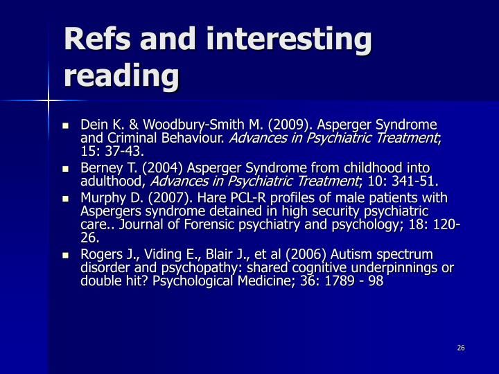 Refs and interesting reading