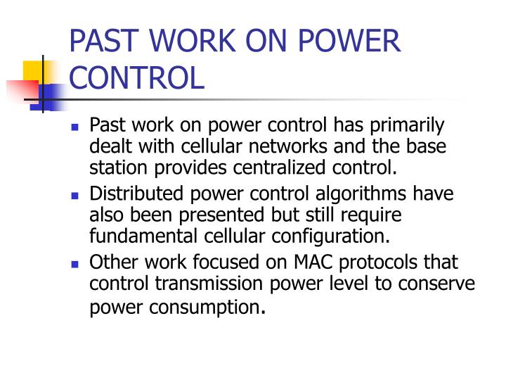 PAST WORK ON POWER CONTROL