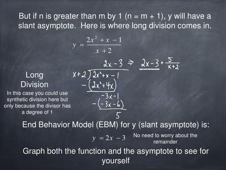 But if n is greater than m by 1 (n = m + 1), y will have a slant asymptote.  Here is where long division comes in.