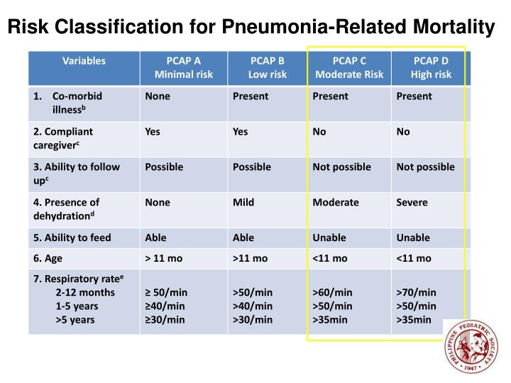 Risk Classification for Pneumonia-Related Mortality