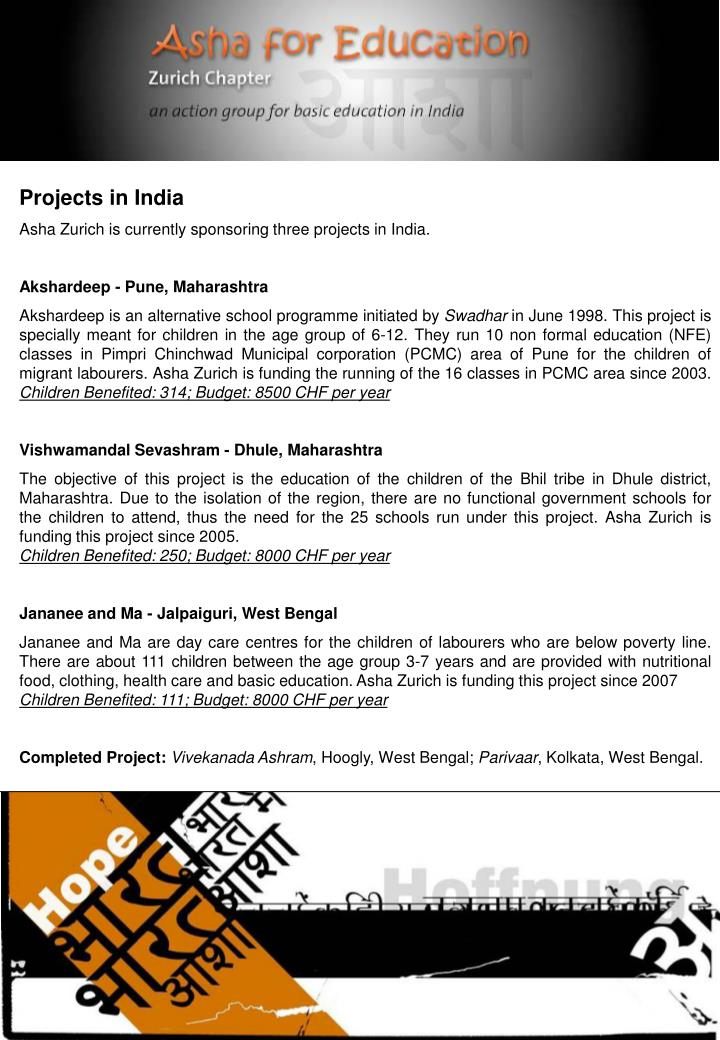 Projects in India