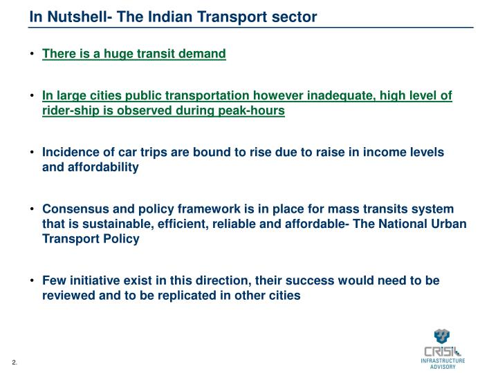 In nutshell the indian transport sector