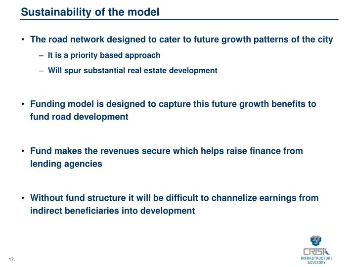 Sustainability of the model