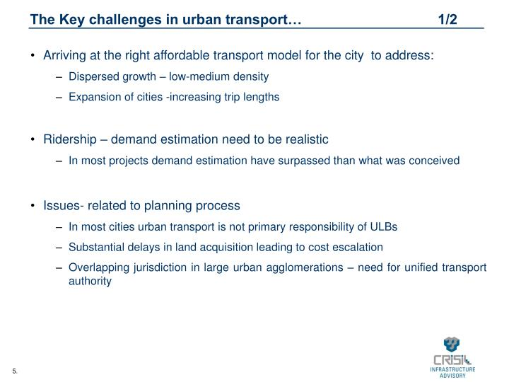 The Key challenges in urban transport…                                   1/2