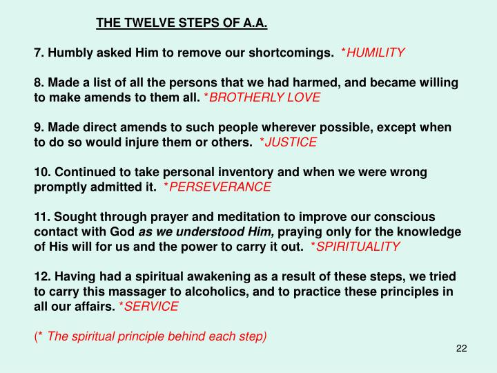 THE TWELVE STEPS OF A.A.