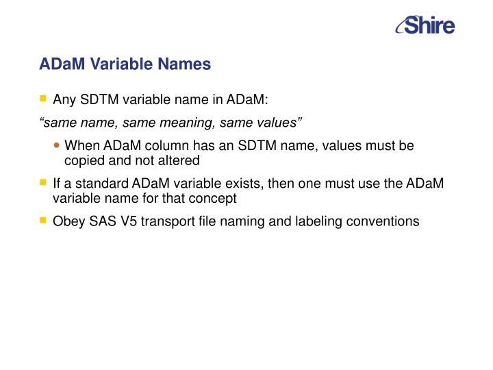 ADaM Variable Names
