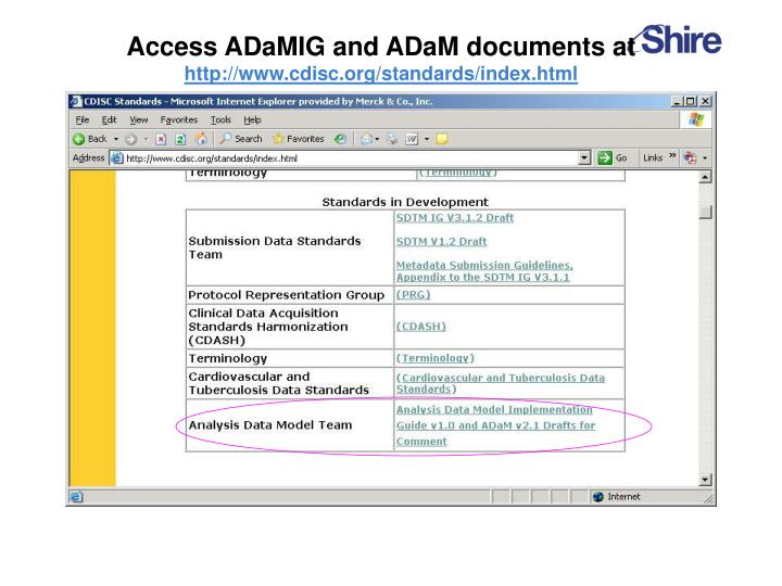 Access ADaMIG and ADaM documents at