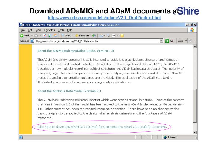 Download ADaMIG and ADaM documents at