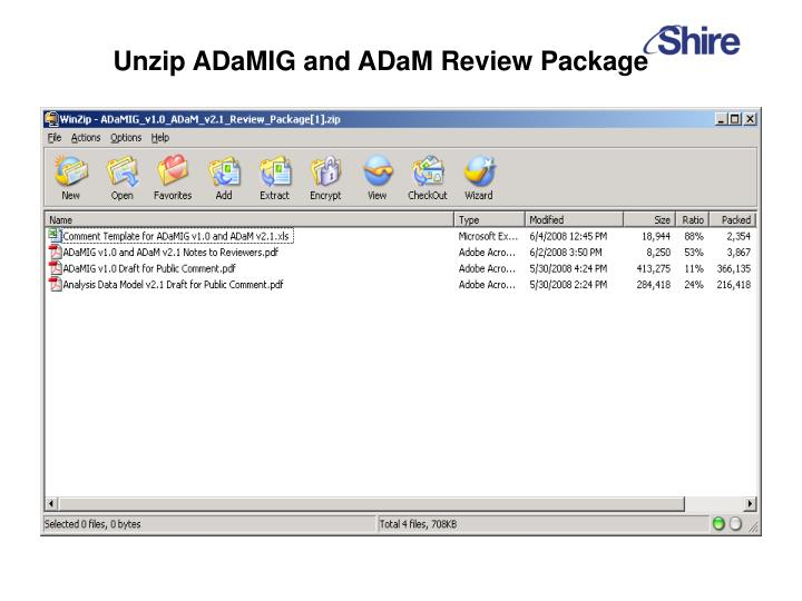 Unzip ADaMIG and ADaM Review Package