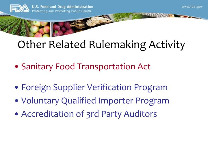Other Related Rulemaking Activity