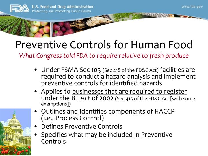 Preventive Controls for Human Food