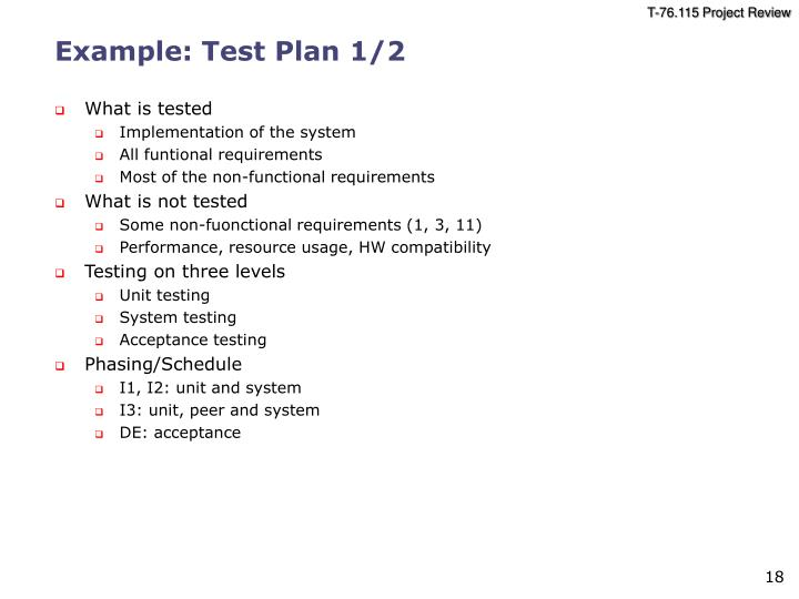 Example: Test Plan 1/2