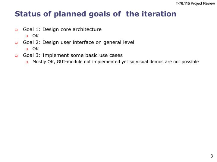 Status of planned goals of the iteration