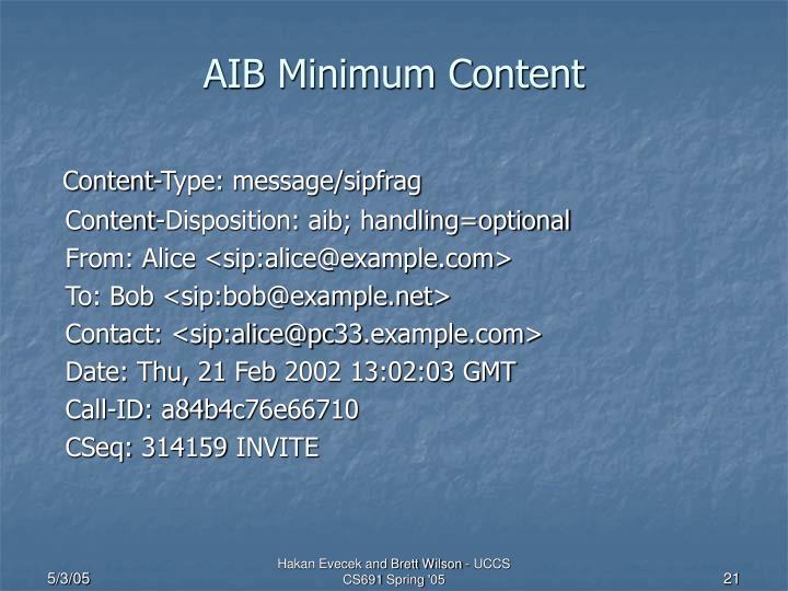 AIB Minimum Content