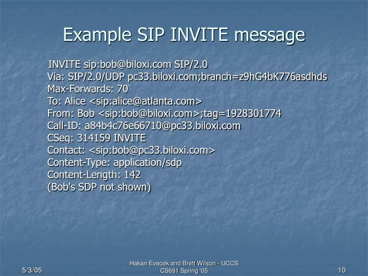 Example SIP INVITE message