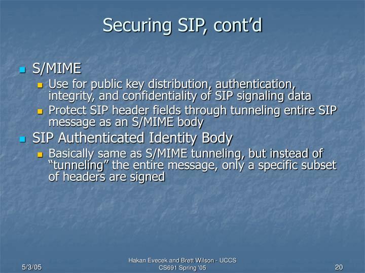 Securing SIP, cont'd