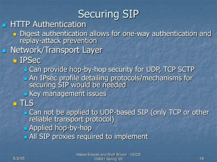 Securing SIP