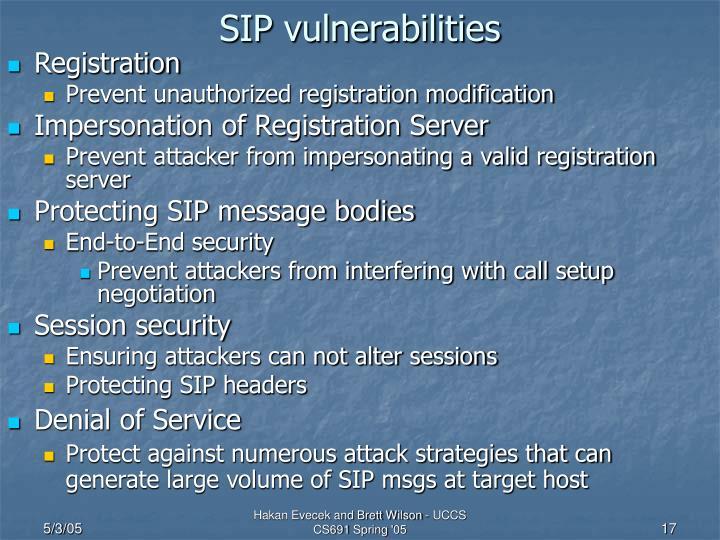 SIP vulnerabilities