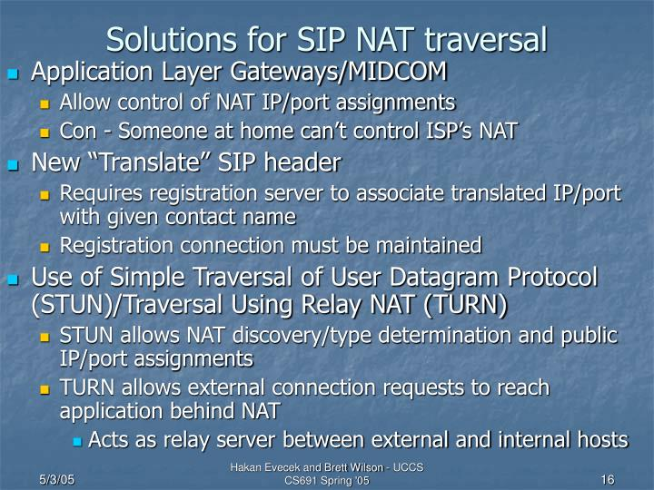 Solutions for SIP NAT traversal