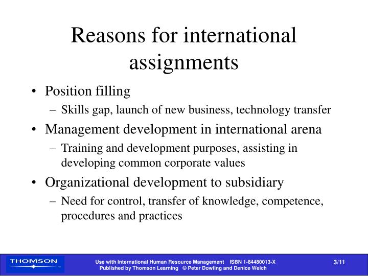 Reasons for international assignments