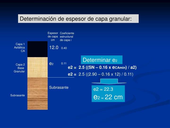 Determinación de espesor de capa granular: